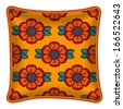 Interior design element: Decorative pillow with patterned pillowcase (abstract flowers pattern on bright orange background). Isolated on white. Vector illustration. - stock vector