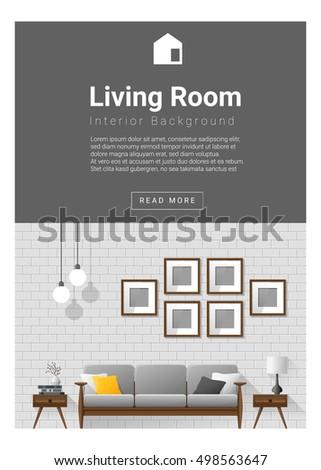 Interior Design Modern Living Room Banner Vector Illustration
