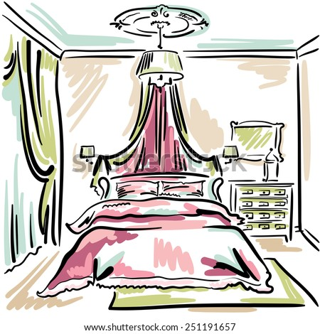 interior design of the classic pink bedroom with double bed hand drawn sketch