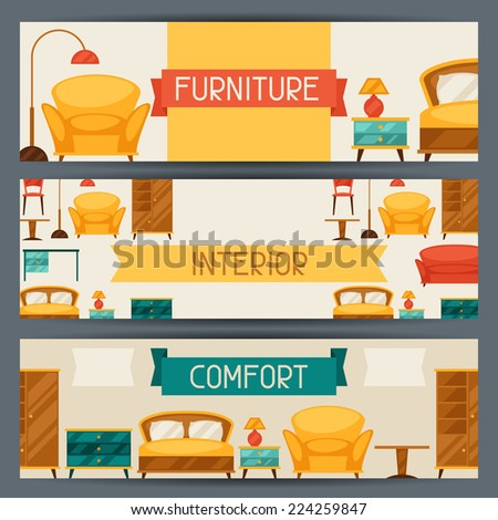 retro style furniture. simple retro interior horizontal banners with furniture in retro style throughout retro style furniture 0
