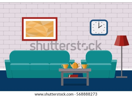 Interior Living Room In Flat Style Vector House Design With Furniture Armchair Couch