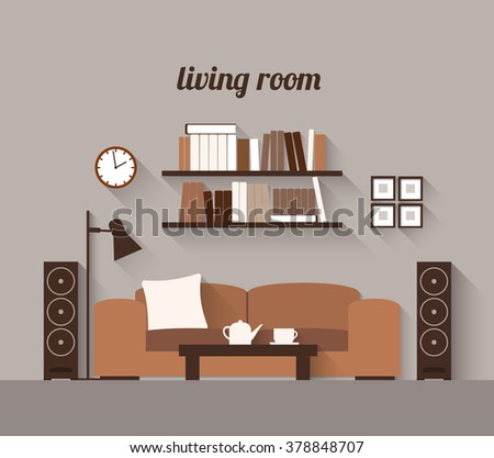 Living Room Interior Modern Flat Design Stock Vector 397622389 Shutterstock