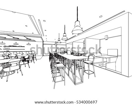 Interior Outline Sketch Drawing Perspective Space Stock Vector ...