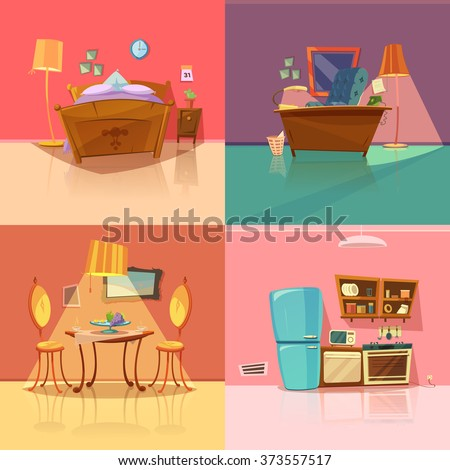 Interior retro set bedroom dining room stock vector for Salle a manger dessin anime