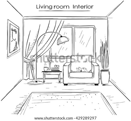 Interior Sketchy Illustration Of Living RoomVector Hand Drawing Modern Home Isolated On White