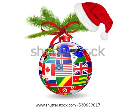 International flags Christmas ball  hat Santa.Vector