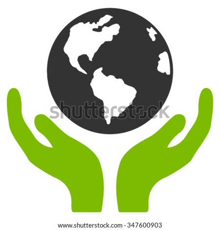 International Insurance vector icon. Style is bicolor flat symbol, eco green and gray colors, rounded angles, white background.