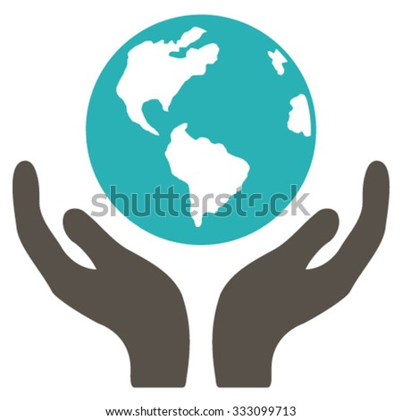 International Insurance vector icon. Style is bicolor flat symbol, grey and cyan colors, rounded angles, white background.