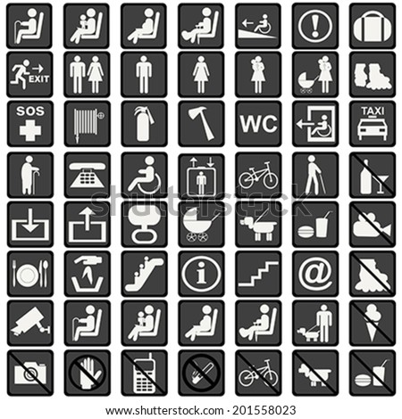 International signs icons used in transportation means