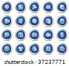 Internet communication web icons, blue circle buttons series - stock vector