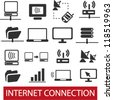 internet connection icons set, vector - stock vector
