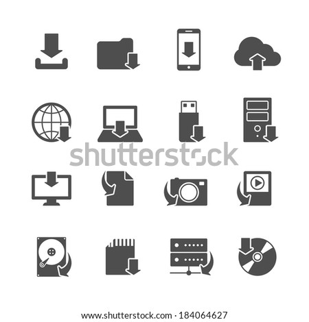 Internet download symbols collection for computer and mobile electronic devices black icons set isolated vector illustration