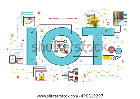 Internet of things, internet computer technology concept word lettering design illustration with line icons and ornaments in blue theme