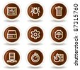 Internet security web icons, chocolate buttons - stock vector