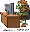 Internet troll using a computer. Vector illustration wit simple gradients. All in a single layer. - stock