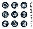 Internet web icons set 1, grunge circle buttons - stock vector