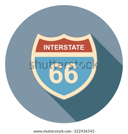 interstate sign flat icon in circle
