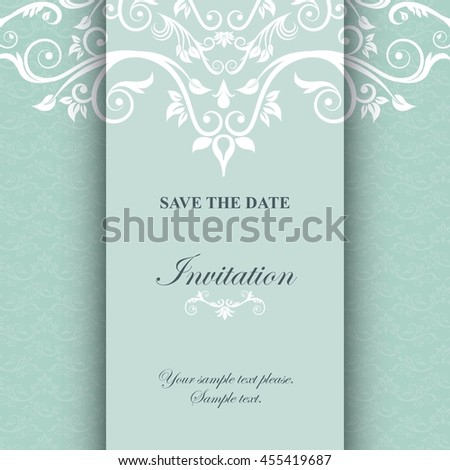 Invitation and save the date concept represented by decoration card icon. Blue illustration.