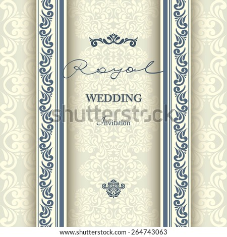Invitation card Baroque Blue and beige, Vintage frame, border, design elements