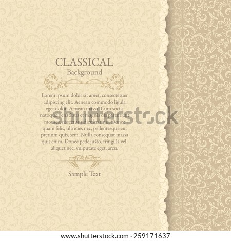 Invitation card. Classical background