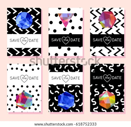 memphis cards geometric elements set vector stock vector