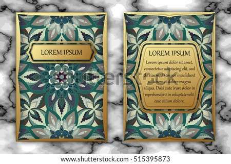 Invitation card design template. Vintage decorative elements with mandala, delicate floral pattern. Islam, Arabic, Indian, ottoman, aztec motifs