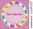 Invitation card for children's parties,  birthday, and other events.  Grunge effect can be removed. EPS 10 vector illustration - stock photo
