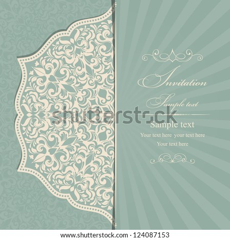 Invitation Card green in the Empire style