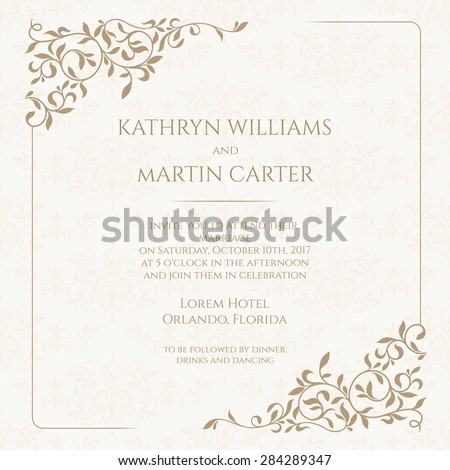 Invitation card with floral seamless pattern. Wedding invitation, Save The Date, valentines day, birthday cards. Vector template cards. Graphic design page.