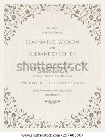 Invitation card with grunge texture. Wedding invitation