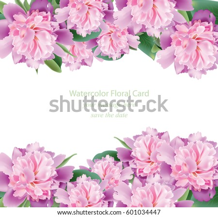 Watercolor Pink Rose Flowers Card Vector Stock Vector 465857288