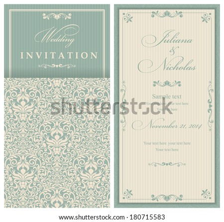 Invitation cards in an old-style green and beige