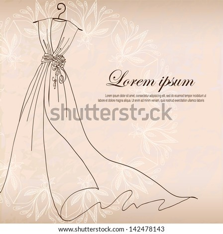 Wedding invitation stock vector 89347342 shutterstock invitation decorated with wedding dress on a hanger on vintage background stopboris Gallery