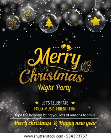 Invitation merry christmas party poster banner and card design template. Happy holiday and new year glass ball theme concept.