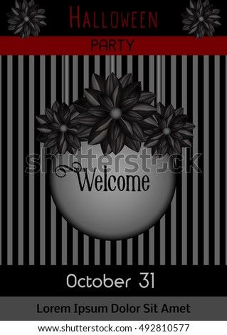 Invitation to a party. Halloween Celebration. Holiday. Festive background decorated with stripes and black dahlias. Poster, flyer or leaflet. Vector illustration, eps10.