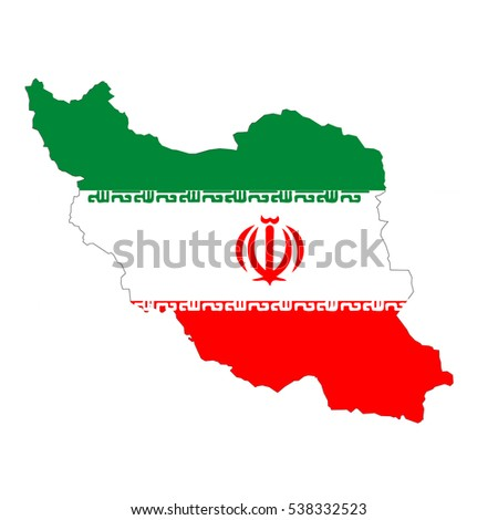 Iran map and flag in white background