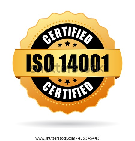 Iso 14001 certified gold seal vector illustration isolated on white background