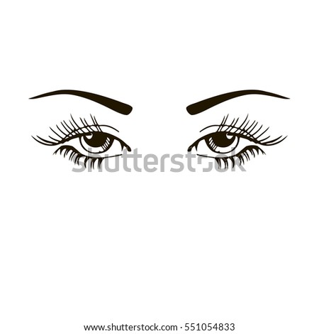 isolated black white beautiful female eyes stock vector