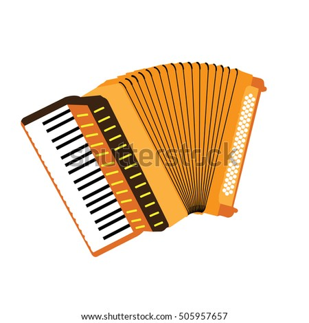 Isolated colored accordion, Musical instrument vector illustration