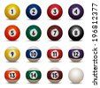 Isolated colored pool balls. Numbers 1 to 15 and zero ball. Vector Illustration - stock