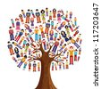Isolated diversity tree with pixelated people illustration. Vector file layered for easy manipulation and custom coloring. - stock photo
