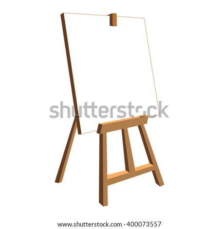 Isolated easel with empty canvas. White background.