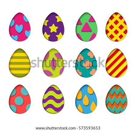 Isolated Eggs Vector Set In Paper Cut Style For Banner Spring Card Or Background Design