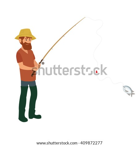 isolated fisherman with a fishing rod in wading boots on a white background. Vector flat illustration
