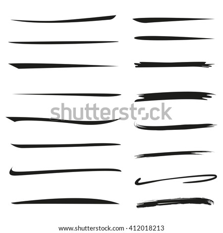 isolated hand drawn underlines, brush lines