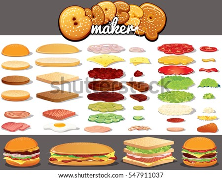 Isolated Ingredients for Burgers, Hamburgers, Sandwiches. Create your Own Fast Food Meal from Bread Bun and Toast, Various Sauces, Beef  Pork Meat, Tasty Cheese, Fresh Vegetables and other C?omponents