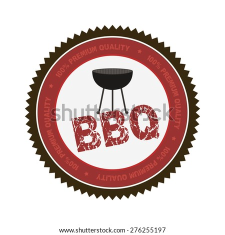Isolated label with text and barbecue elements. Vector illustration