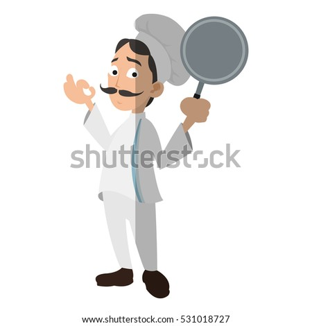 Isolated male chef cartoon design