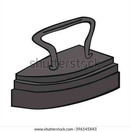 isolated old iron iron, cartoon vector