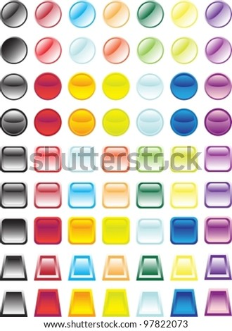 isolated on white, all parts closed, possibility to edit, EPS8. Set of multi-coloured buttons of icons.